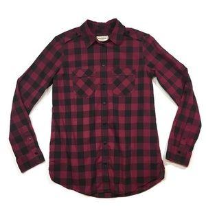 Express Plaid Long Sleeve Button Shirt Top